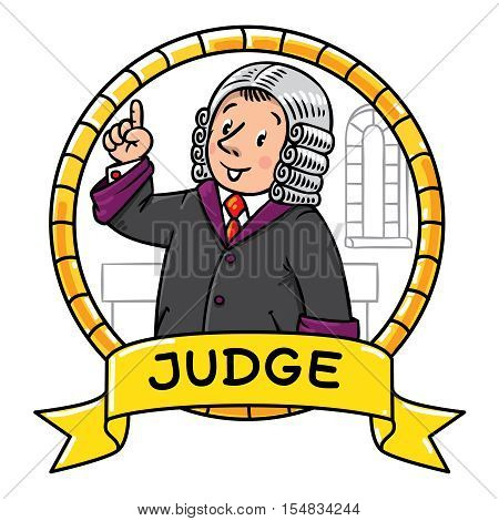Emblem or children vector illustration of funny judge. A man in barrister wig, dressed in mantle, with briefcase understand thumbs up. Profession series.