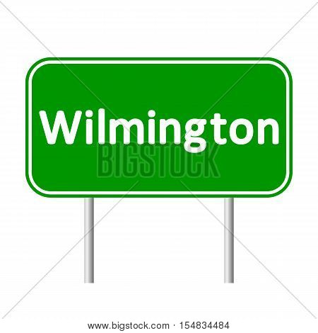 Wilmington green road sign isolated on white background.