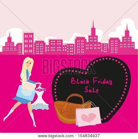 Shopping woman - Black Friday Sale card , vector illustration