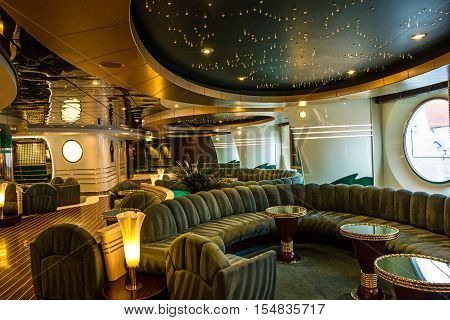 Cruise liner Splendida - Sep 9, 2016: Bar interior on cruise liner Splendida