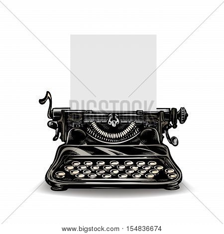 Vintage typewriter isolated on white background. Vector
