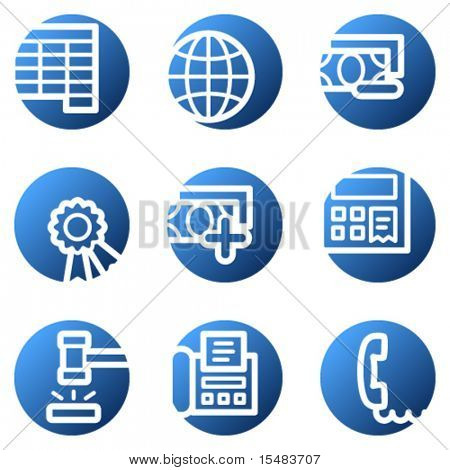 Finance web icons, blue circle series set 2