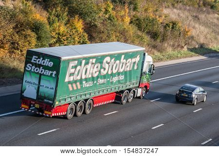 LONDON, UK - 03 NOVEMBER 2016 :Eddie Stobart Lorry on the M1 motorway. British transport company.