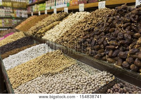 Dry Fruits and Nuts, Marrakesh Souk, Morocco / Countertop with a variety of dry fruits and nuts in Marrakesh Souk, Morocco