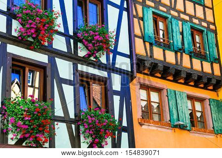 Traditional architecture of Alsace - half timbred colourful hous