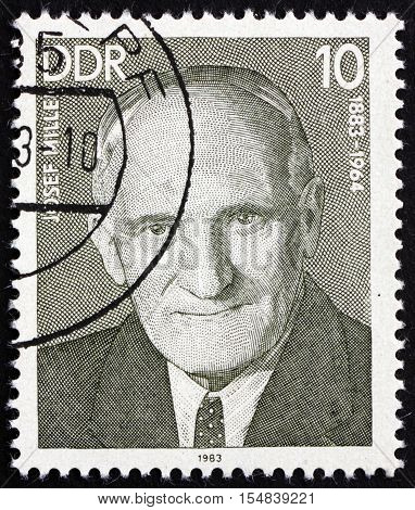 GERMANY - CIRCA 1983: a stamp printed in Germany shows Josef Miller Working-class Leader circa 1983