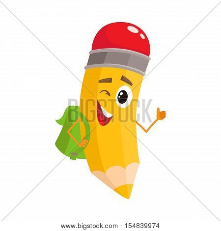 Yellow cartoon pencil with backpack winking and giving okay, vector illustration isolated on white background. Humanized funny pencil with a green backpack winks and gives OK