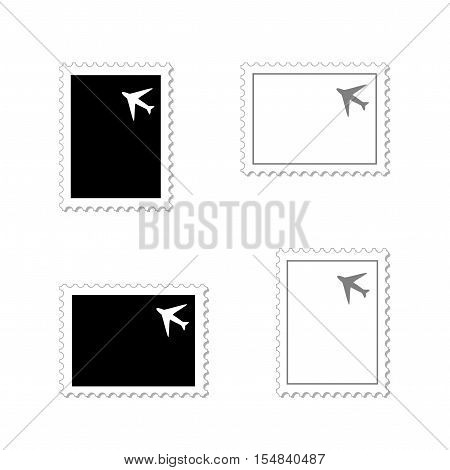 Vector black and white stamps with airplane