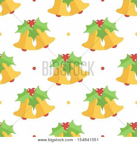 Cute colorful flat design christmas bell and mistletoe seamless pattern background.