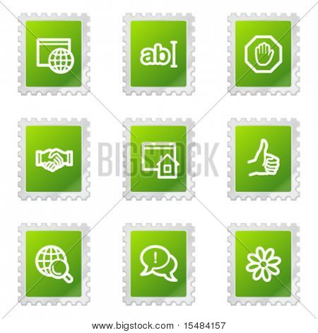 Internet communication web icons, green stamp series
