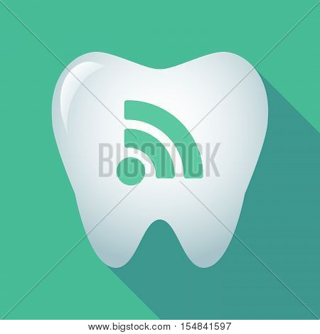 Long Shadow Tooth Icon With An Rss Sign