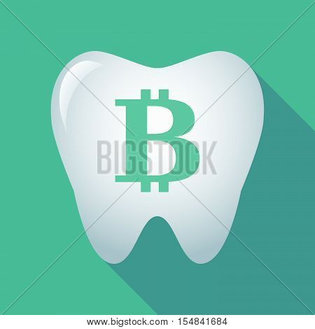 Long Shadow Tooth Icon With A Bit Coin Sign