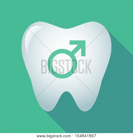 Long Shadow Tooth Icon With A Male Sign