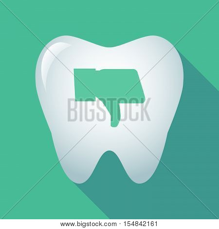Long Shadow Tooth Icon With A Thumb Down Hand