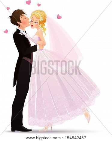Vector illustration with groom kissing his charming and shyness bride