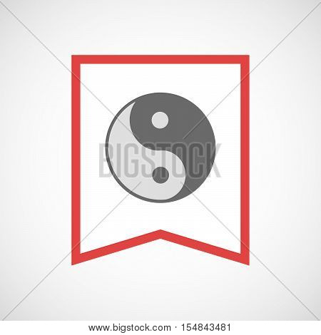 Isolated Line Art Ribbon Icon With A Ying Yang