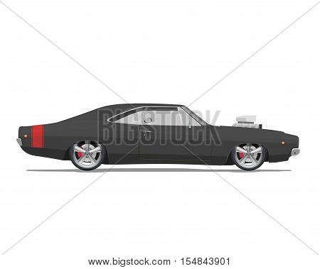 American classic muscle car. High detailed vector illustration on white background