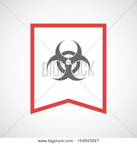 Isolated Line Art Ribbon Icon With A Biohazard Sign