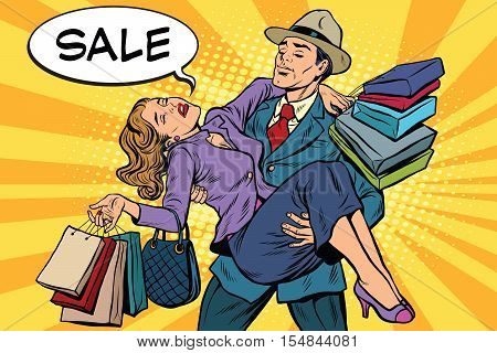 Discounts and sales. Retro man carrying woman on his hands, pop art vector. The concept of the sale season, the holidays and Black Friday