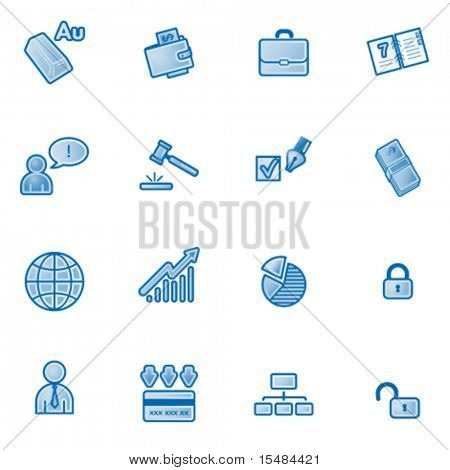 Business web icons, blue series