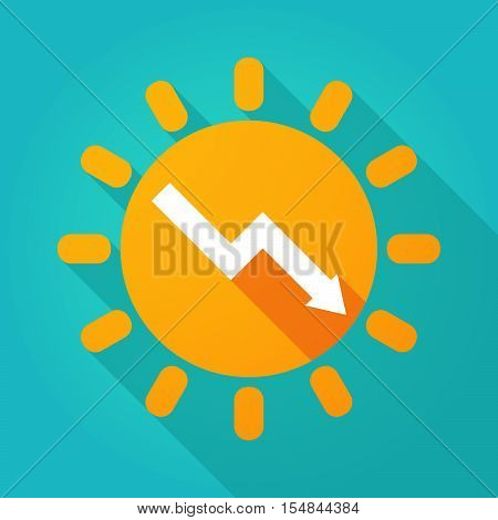 Long Shadow Bright Sun Icon With A Descending Graph