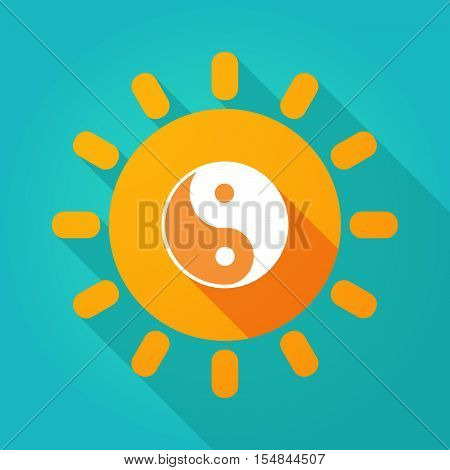 Long Shadow Bright Sun Icon With A Ying Yang