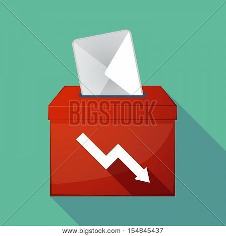 Long Shadow Coloured Ballot Box Icon With A Descending Graph