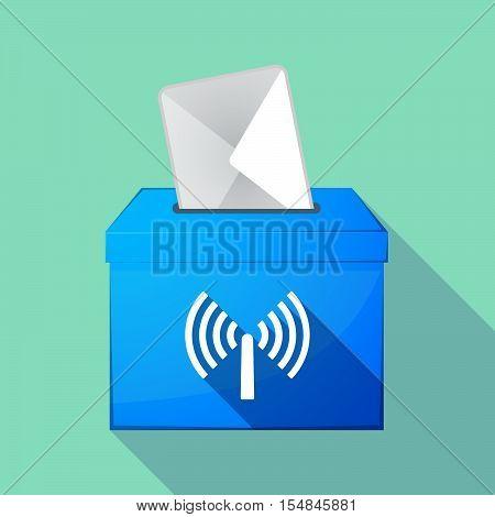 Long Shadow Coloured Ballot Box Icon With An Antenna