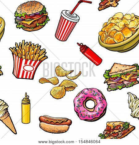 Sketch style hand drawn fast food seamless pattern on white background. Pizza, burger, hot dog, sandwich, donut, ice cream, French fries textile, wrapping paper, web site seamless background