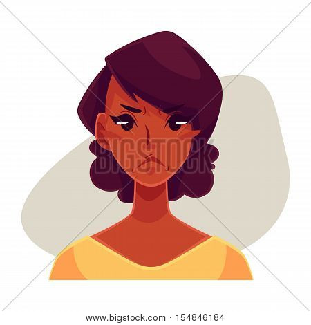Pretty African girl, angry facial expression, cartoon vector illustrations isolated on gray background. Black woman frowns, feeling distressed, frustrated, sullen, upset. Angry face expression