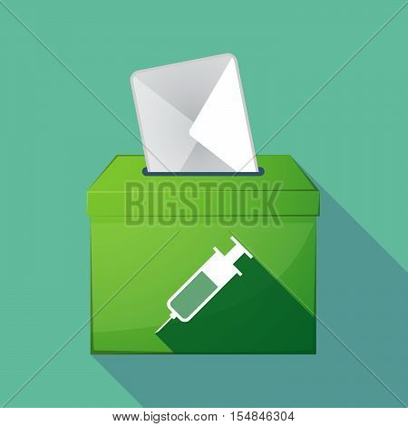 Long Shadow Coloured Ballot Box Icon With A Syringe