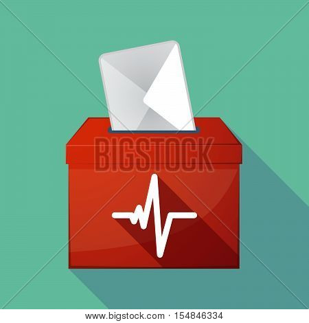 Long Shadow Coloured Ballot Box Icon With A Heart Beat Sign