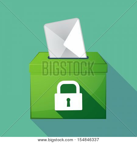 Long Shadow Coloured Ballot Box Icon With A Closed Lock Pad