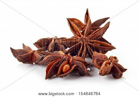 Heap Of Star Anise Isolated On White