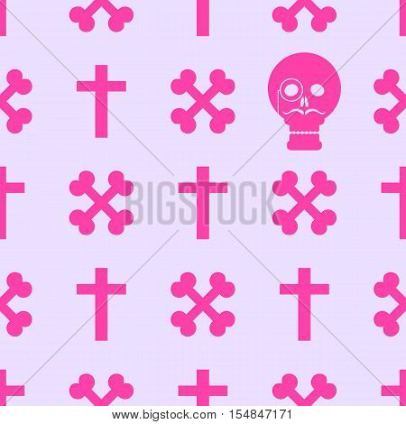 Seamless background with crossed bones and skull in the style of pastel goth in pink tones.