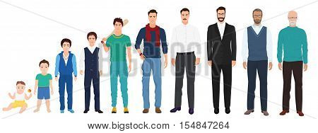 Different age of the men male person. Man age collection