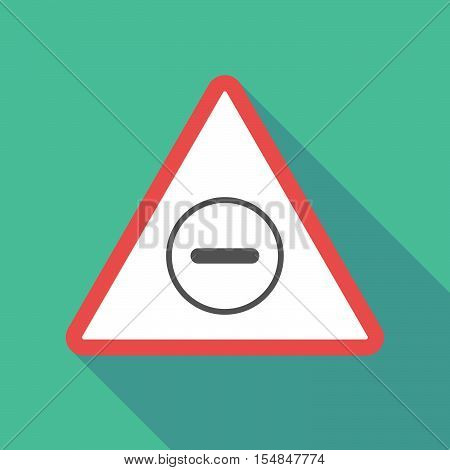 Long Shadow Triangular Warning Sign Icon With A Subtraction Sign