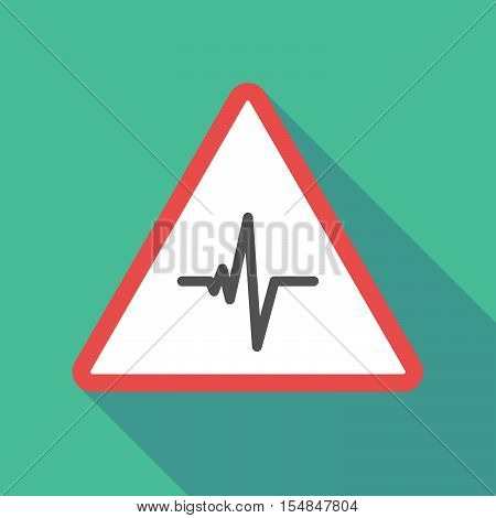 Long Shadow Triangular Warning Sign Icon With A Heart Beat Sign