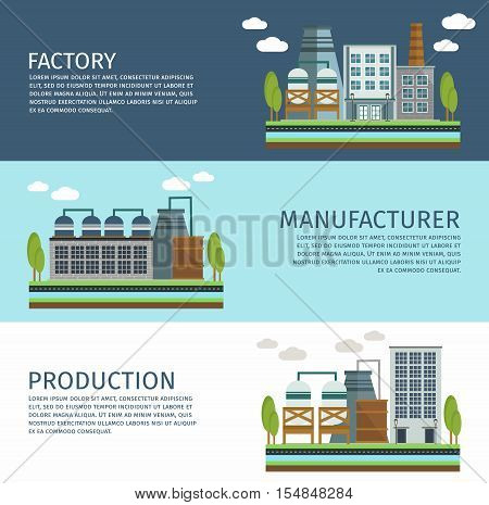 Industrial buildings horizontal banners set with factory manufacturing facilities and production isolated vector illustration