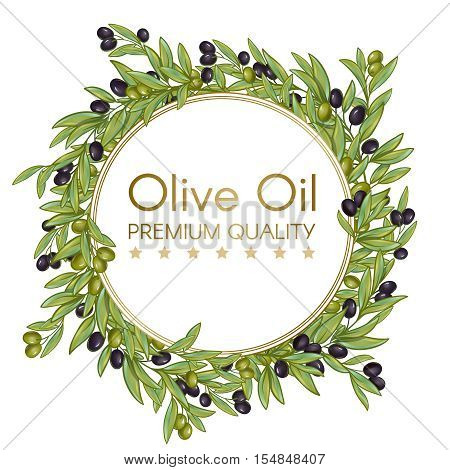 Premium quality olive oil isolated round wrench composition with olives branches editable text on blank background vector illustration