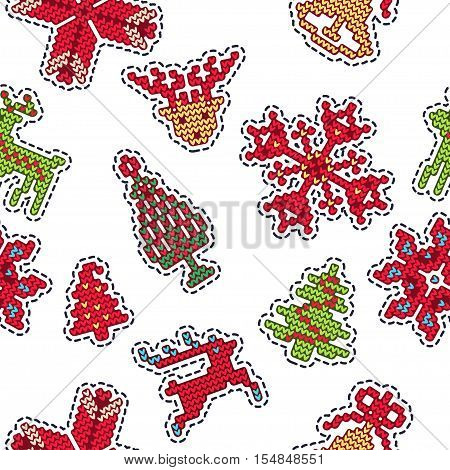Vector Illustration of Ugly sweater Xmas Patches SEamless Pattern for Design, Website, background, Banner. Merry Christmas Knitted Retro Stickers with Deer, snowflake bell, Template
