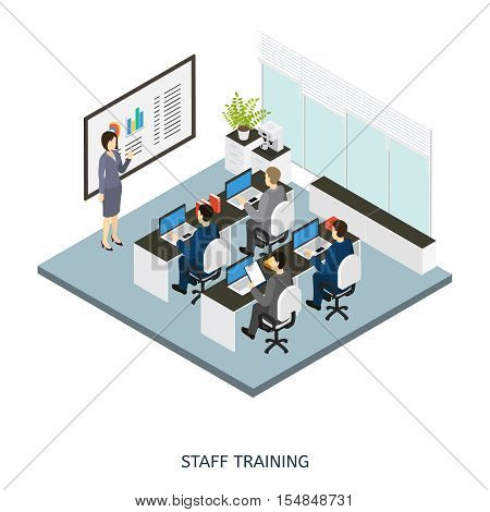 Colored 3d style office cabinet isometric composition with employers on staff training vector illustration