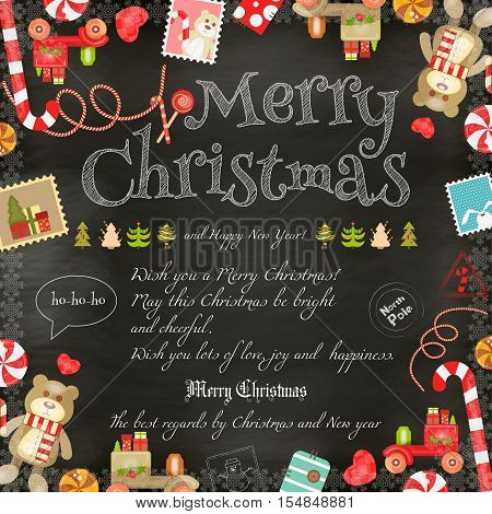 Merry Christmas and New Year Card - Holiday Frame - Greeting Text and Xmas Symbols on Blackboard Background. Vector Illustration.
