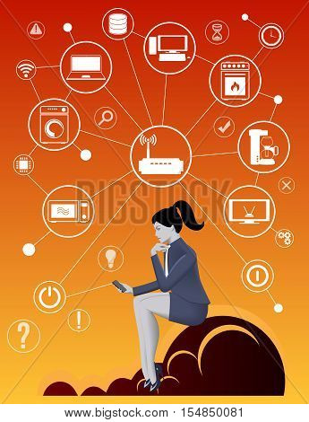 Internet of things business concept. Pensive business woman in business suit with smart phone sitting on the cloud trying smart home concept and developing business strategy for new business field.