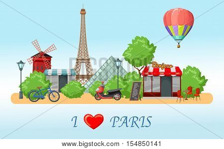 Colored paris skyline composition with most important sights of the city and title vector illustration