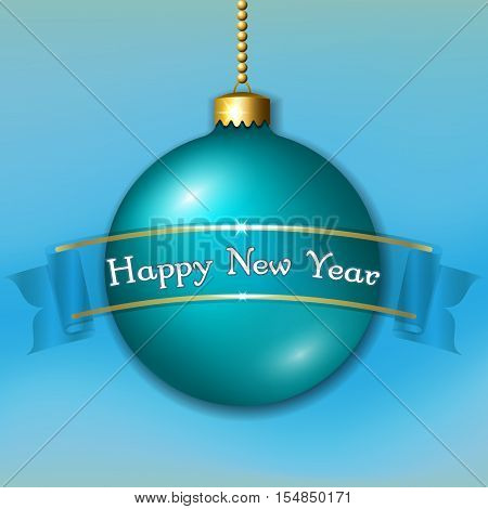 Merry Christmas decoration with ribbon Happy New Year text. Green and gold ball isolated on light-blue background. Bright bauble design banner for holiday. Xmas celebration. Vector illustration