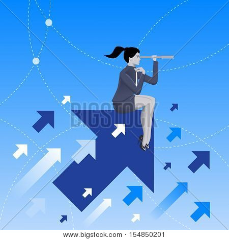 Searching the opportunities business concept. Confident business woman sitting on arrow flying up and watching in looking glass. Search for opportunity contacts new fields development.