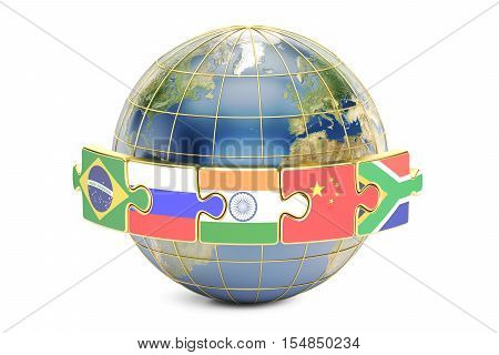 BRICS summit concept with earth 3D rendering isolated on white background