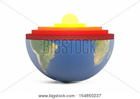 detailed structure of earth planet concept 3D rendering isolated on white background