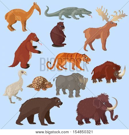 Ice age animals set with mammoth bear and deer bird tiger on blue background isolated vector illustration